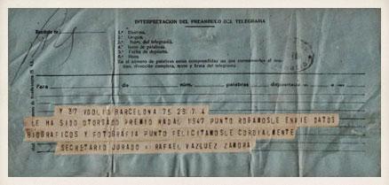 Comunicación oficial de la obtención del Premio Nadal dirigida a Miguel Delibes. 7 de enero de 1948.